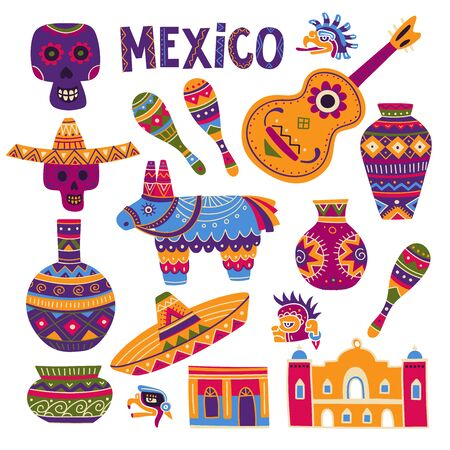 Vector colorful set of traditional symbols of Mexican culture, like maracas, pinata, sombrero, scull, pottery, Maya drawings. Can be used as a template for your design, as a sticker, icon, badge element Ilustração