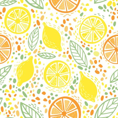 Citrus lemon and orange with leaves colorful seamless pattern. Can be printed and used as wrapping paper, wallpaper, textile, fabric, apparel, etc.