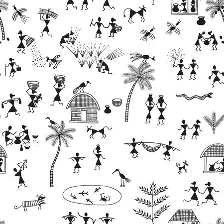 Warli painting, traditional Indian tribal art. Can be printed and used as wrapping paper, wallpaper, textile, fabric, apparel, etc.