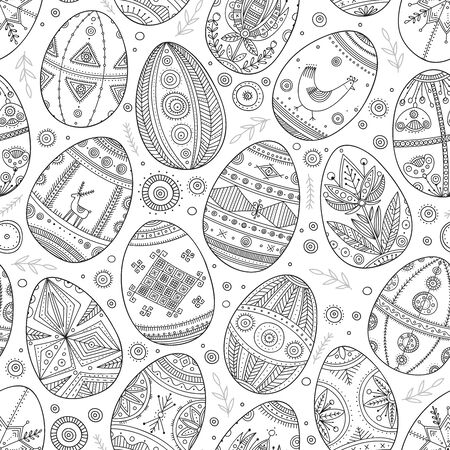 Easter eggs in Ukrainian traditional style seamless pattern. Can be printed and used as coloring page, wrapping paper, wallpaper, textile, fabric, card Illustration
