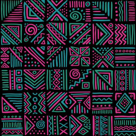 African clash vector seamless pattern in ethnic tribal style. Can be printed and used as wrapping paper, wallpaper, textile, fabric, apparel, etc.