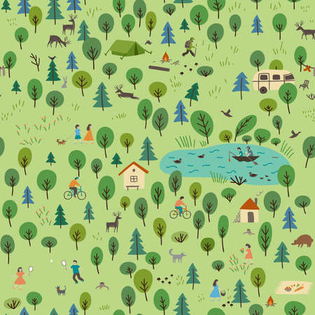 Vector seamless pattern of summer forest landscape with wild animals and people on vacation. Can be printed and used as wrapping paper, wallpaper, textile, fabric, apparel, wallpaper, background, etc.