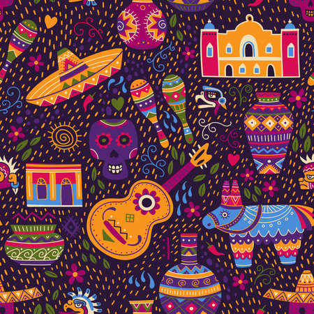 Vector seamless pattern of Mexican culture elements in colorful ethnic tribal style with ornaments. Can be used and printed on textile, apparel, fabric, wrapping paper, wallpaper. Çizim