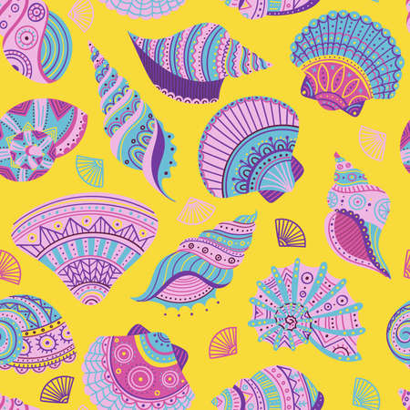 Vector seamless pattern with colorful seashells in ethnic boho style with ornaments. Can be printed and used as a wrapping paper, apparel, textile, fabric, wallpaper, for summer swimwear collection.