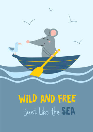 Wild and free just like the sea. Vector illustration of cute sailor rat in the boat with seagull. Can be printed and used as apparel design, postcard, placard, poster, banner, sticker.