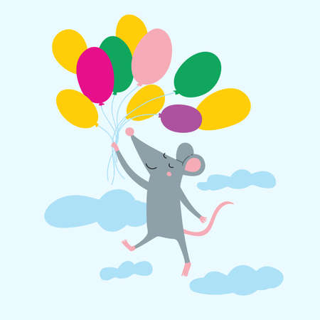 Vector illustration of cute rat flying with colorful air balloons in the sky. Can be used as a template for your Birthday card design, placard,poster, invitation