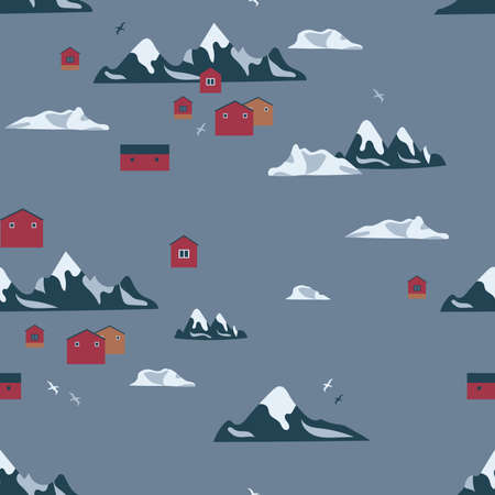 Antarctica seamless pattern. Can be printed and used as wrapping paper, wallpaper, textile, fabric, apparel, cloth, etc.