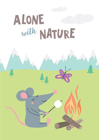 Vector illustration of rat in camp in colorful flat childish style. Can be used as a template for your card, placard, poster design, greeting, invitation, badge, sticker, banner, picture book. Vettoriali