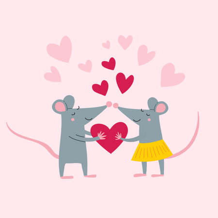 Vector illustration of rat couple in love in colorful flat childish style. Can be used as a template for your card, placard, poster design, greeting, invitation, badge, sticker, banner, picture book. Çizim