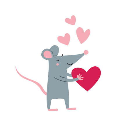 Vector illustration of rat male in love in colorful flat childish style. Can be used as a template for your card, placard, poster design, greeting, invitation, badge, sticker, banner, picture book.