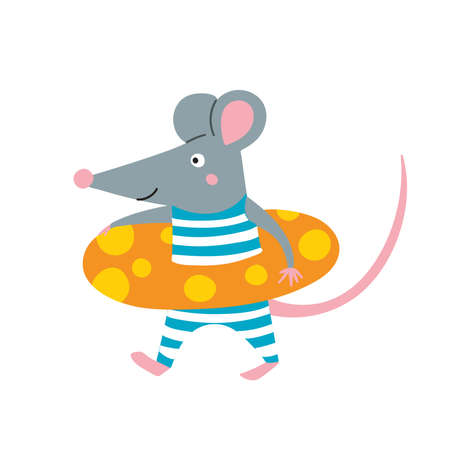 Vector illustration of rat in lifebuoy in colorful flat childish style. Can be used as a template for your card, placard, poster design, greeting, invitation, badge, sticker, banner, picture book.