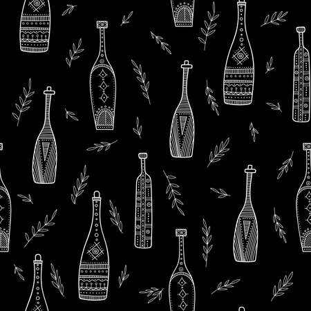 Bottles in boho style seamless pattern. Can be printed and used as wrapping paper, wallpaper, apparel, textile, fabric, etc.
