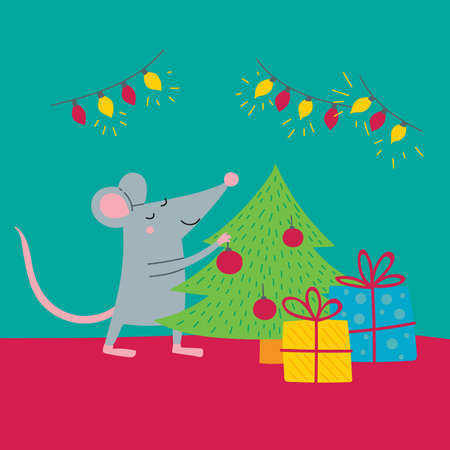 Vector illustration of rat preparing for christmas, colorful childish style. Can be used as a template for your card, placard, poster design, greeting, invitation, badge, sticker, banner, picture book
