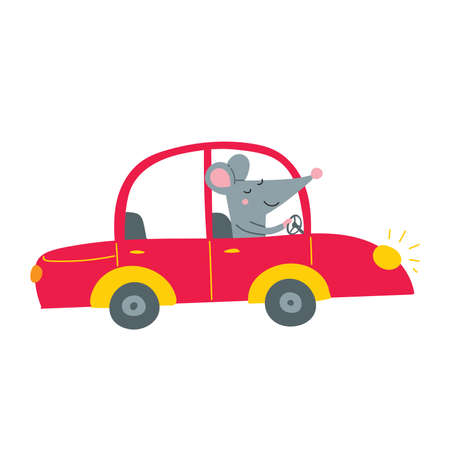 Vector illustration of cute happy rat driving red car. Can be printed and used as a sticker, icon,  children's book, banner, card design, poster, placard, invitation, badge.