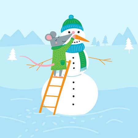 Vector illustration of rat making snowman in colorful flat childish style. Can be used as a template for your card, placard, poster design, greeting, invitation, badge, sticker, banner, picture book.
