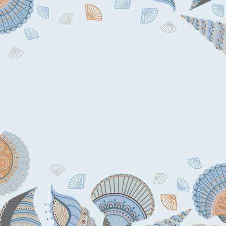 Vector banner template with seashells in boho style with tribal ornaments without text. Can be used as a template for your design, advertising, card, placard, poster, flyer.