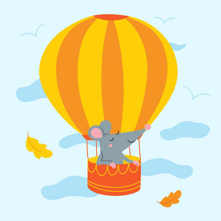 Vector illustration of rat in air balloon in colorful flat childish style. Can be used as a template for your card, placard, poster design, greeting, invitation, badge, sticker, banner, picture book.