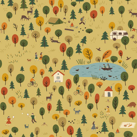 Vector seamless pattern of autumn forest landscape with wild animals and people on vacation. Can be printed and used as wrapping paper, wallpaper, textile, fabric, apparel, wallpaper, background, etc. Çizim