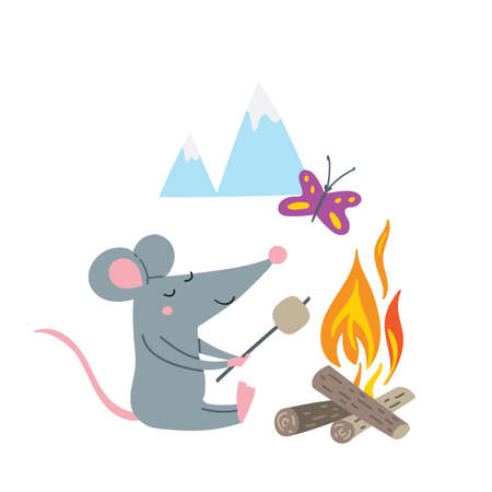 Vector illustration of rat in camp in colorful flat childish style. Can be used as a template for your card, placard, poster design, greeting, invitation, badge, sticker, banner, picture book. Çizim