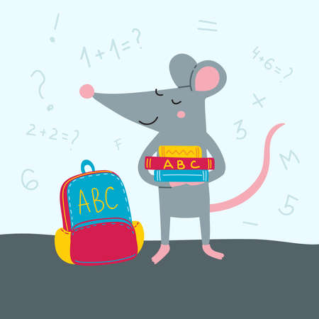 Vector illustration of rat back to school in colorful flat childish style. Can be used as a template for your card, placard, poster design, greeting, invitation, badge, sticker, banner, picture book. Çizim