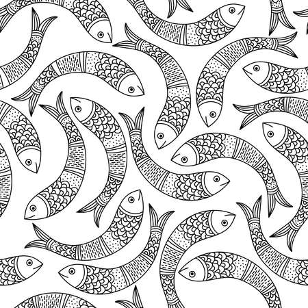 Seamless surface pattern with fishes in Indian traditional tribal Gong Art style. Can be printed and used as wrapping paper, wallpaper, textile, fabric, etc. Çizim