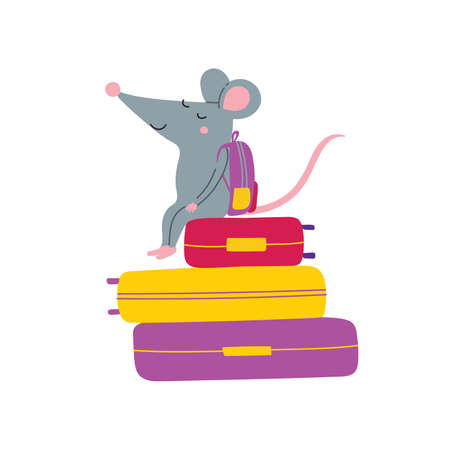 Vector illustration of rat sitting on suitcases in colorful childish style. Can be used as a template for your card, placard, poster design, greeting, invitation, badge, sticker, banner, picture book.