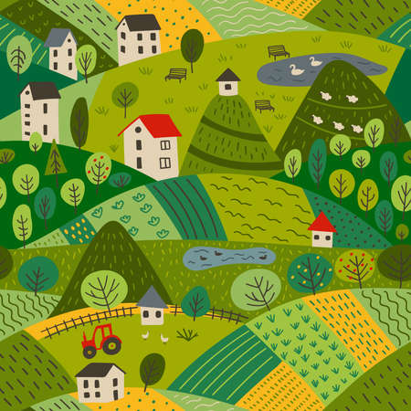 Vector seamless pattern of summer village landscape with farm and fields, mountains and forest. Can be printed and used as wrapping paper, wallpaper, textile, apparel, fabric etc.