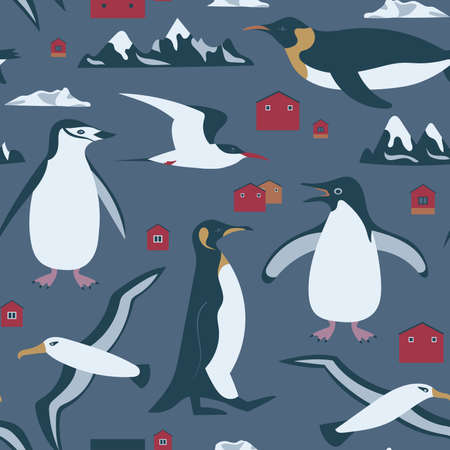 Antarctica seamless pattern with penguin, albatross, tern, mountains. Can be printed and used as wrapping paper, wallpaper, textile, fabric, apparel, cloth, etc. Çizim