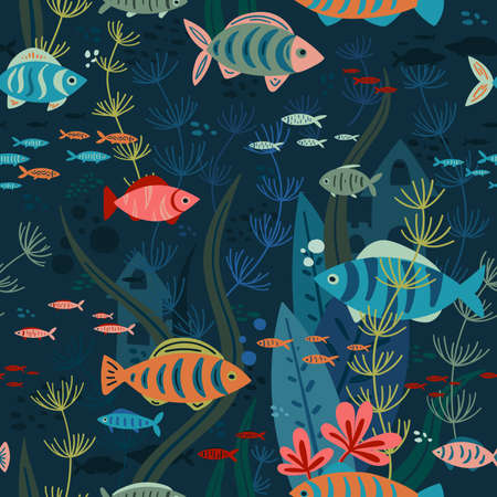 Vector seamless pattern of aquarium life with colorful fishes and sea weeds swimming. Can be printed and used as wrapping paper, wallpaper, textile, fabric, apparel, etc.
