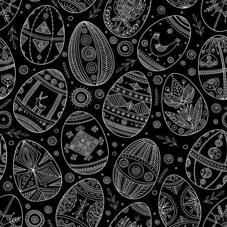 Easter eggs in Ukrainian traditional style seamless pattern. Can be printed and used as wrapping paper, wallpaper, textile, fabric, card