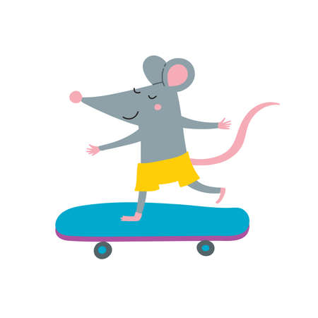 Vector illustration of rat on skateboard in colorful flat childish style. Can be used as a template for your card, placard, poster design, greeting, invitation, badge, sticker, banner, picture book.