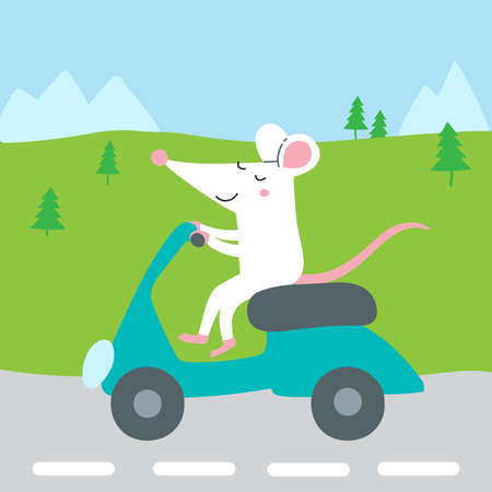 Vector illustration of cute rat riding scooter traveling for summer vacation to mountains. Can be printed and used as a card, poster, add, banner, sticker, badge, apparel.