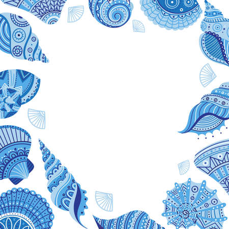 Vector banner template with seashells in boho style with tribal ornaments without text. Can be used as a template for your design, advertising, card, placard, poster, border, frame, flyer, frame, border.