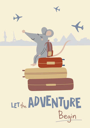Vector illustration of rat with suitcases in colorful flat childish style. Can be used as a template for your card, placard, poster design, greeting, invitation, badge, sticker, banner, picture book. Çizim