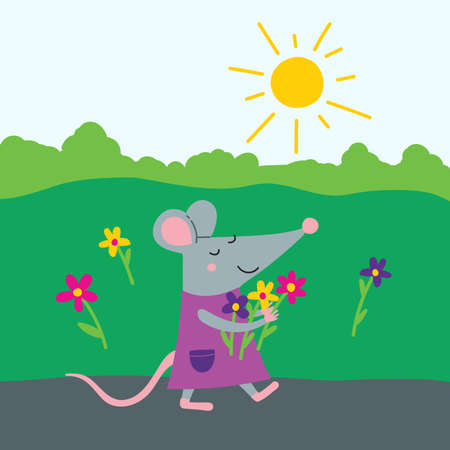 Vector illustration of pretty female rat in dress walking with flowers. Cute children's book illustration can be used as template for your design, card, placard, banner, sticker. Çizim