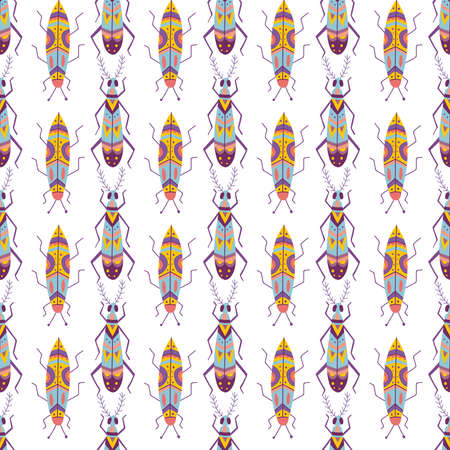 Colorful beetle vector seamless pattern.Can be printed and used as wrapping paper, wallpaper, textile, fabric, apparel, etc. Çizim
