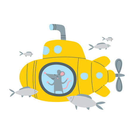 Vector illustration of rat in submarine in colorful flat childish style. Can be used as a template for your card, placard, poster design, greeting, invitation, badge, sticker, banner, picture book. Çizim