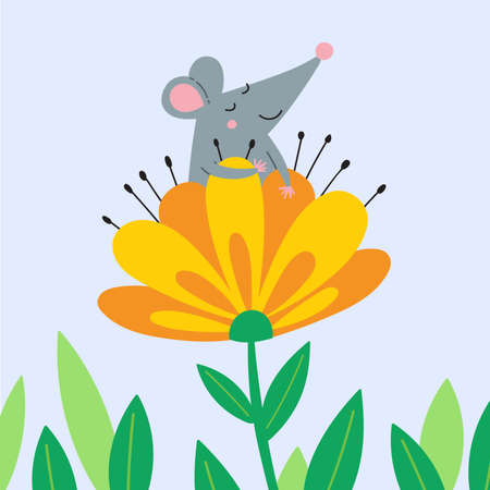Vector illustration of cute happy rat sitting in blooming flower and enjoying moment. Can be used as a template for card, banner, placard, poster, badge, sticker, printed on bag or t-shirt.