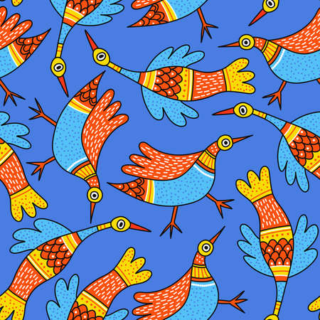 Seamless surface pattern with birds in Indian traditional tribal Gong Art style. Can be printed and used as wrapping paper, wallpaper, textile, fabric, etc. Çizim