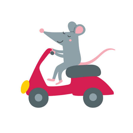 Vector illustration of cute rat on bike. Can be printed and used as a sticker, icon,  children's book, banner, card design, poster, placard, invitation, badge.