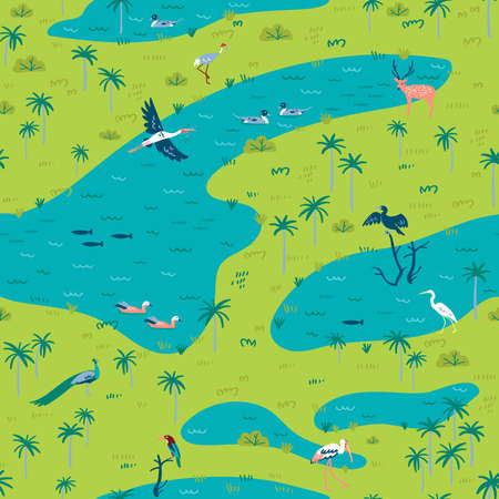 Illustration of Bird Sanctuary landscape with lot of wetland birds. Seamless pattern can be printed and used as wrapping paper, wallpaper, textile, fabric, etc. Çizim