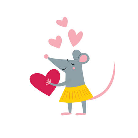 Vector illustration of rat female in love in colorful flat childish style. Can be used as a template for your card, placard, poster design, greeting, invitation, badge, sticker, banner, picture book. Çizim