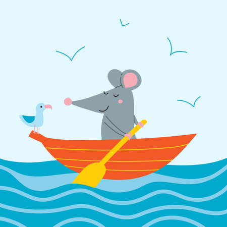 Vector illustration of cute rat in boat with seagull. Can be printed and used as a sticker, icon,  children's book, banner, card design, poster, placard, invitation, badge. Çizim