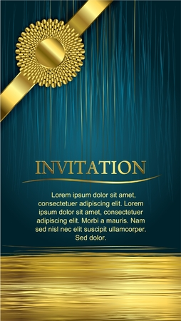 wedding invitation: invitation card  a beautiful blue golden card suitable for invitation, congratulation, greeting