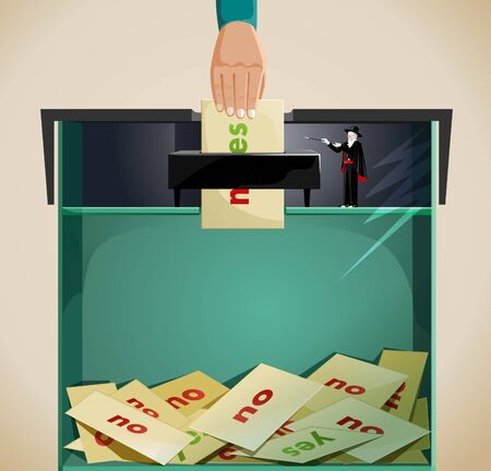majority:    an idea showing election fraud, with a hand posting the vote in a ballot box saying yes but the wizard in the box changed the majority of votes to no    Illustration
