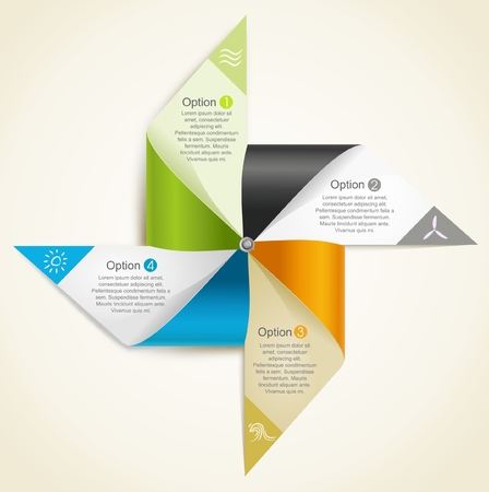 paper windmill origami representing renewable energies resources  Ilustrace
