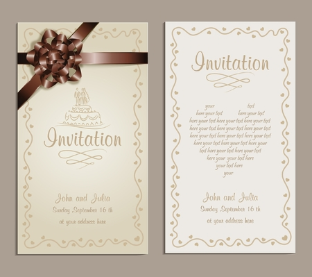 congratulating: wedding invitation a beautiful wedding invitation with brown ribbon,could be used as a congratulation or greeting card  Illustration