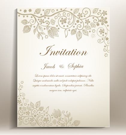 invitacion fiesta: Invitaci�n floral de la boda cl�sica de dibujar a mano Vectores