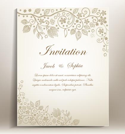 mariage: invitation classique de mariage � la main tirage Floral