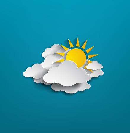 nuvole e sole su sfondo blu